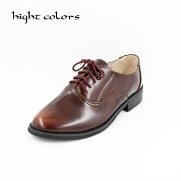 Size 34-43 New 2018 Vintage Genuine Leather Flats Womens Spring Autumn Lace Up Casual Thick Heel Brogues Shoe Woman Oxford Shoes