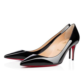 Christian Louboutin CL Decollete 554 Black Patent Leather 70mm Stiletto Heel Classic Best Deal Online