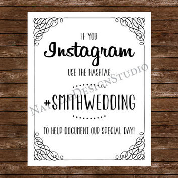 Instagram Wedding Sign, Custom # Hashtag - 8x10 Wedding Sign Customized Personalized White or Ivory Paper