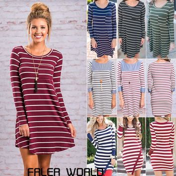 Women Loose Fit Shirt Dress Long Sleeve Striped Tunic Blouse Tee