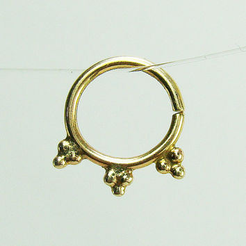 14k gold nose ring ,Gold Septum ring, Tribal nose ring, cartilage erring, gold nose ring, tribal Indian septum, tragus, helix, solid gold