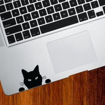 "Cat Watching - ""Soon..."" Cat - Trackpad / Keyboard - Vinyl Decal (BLACK)"