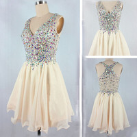 Beaded V-neck Short Chiffon Homecoming Dress
