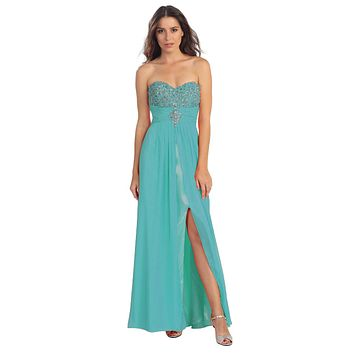 Embellished Bodice Strapless Long Jade Column Gown