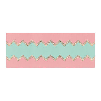 "Monika Strigel ""Avalon Soft Coral and Mint Chevron"" Orange Green Bed Runner"