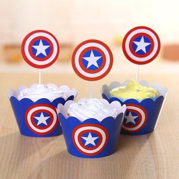 CAPTAIN AMERICA Cupcake Toppers and Wrappers   Captain America Party Favors   Captain America Birthday Party   Captain America Cake Topper