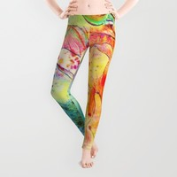 bright floral Leggings by Clemm