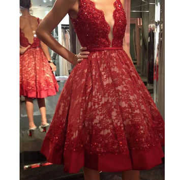 lace applique red short prom dresses for evening party vestido de festa party dress short red robe cocktail dresses for weddings