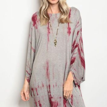 Women Gray Burgundy Tie Dye Scoop Neck Long Sleeve Relaxed Fit Knit Tunic Dress