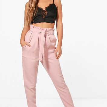 Petite Premium Amy Paper Bag Waist Belted Trouser | Boohoo