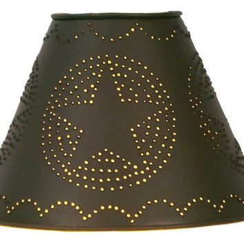 """4"""" x 9"""" x 6"""" Star Punched Tin Shade - Rustic Brown"""