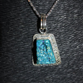 Silver Plated Blue Agate Druzy Stone Pendant Necklace