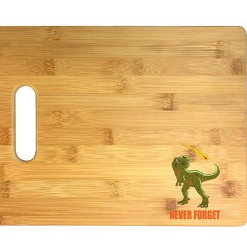 Dinosaur Never Forget Asteroid & Tyrannosaurus Rex Humor 3D COLOR Printed Bamboo Cutting Board - Wedding, Housewarming, Anniversary, Birthday, Mother's Day, Gift