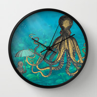 Octopus & The Diver Wall Clock by Mary Kilbreath