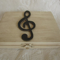 Music Themed Rustic Ivory Stained Aged  His Hers Divided Wedding Ring Bearers Box