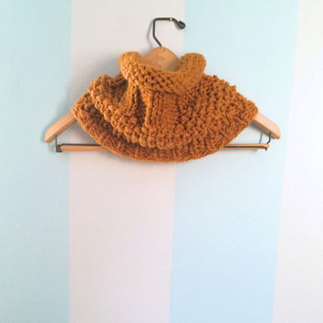 "Chunky Knit Cowl ""Dahlia"" - Women's Cowls - Neck Warmer - Infinity Scarf - Womens Scarves - Mustard Yellow Cowl - Textured Cowl"