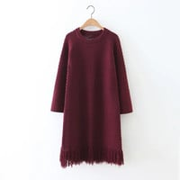 Tassel Long Knitted Sweater Dress