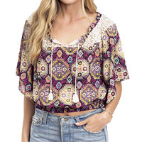 Southwest Festival Printed Peasant Blouse