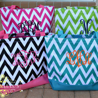 Monogrammed Canvas Tote Bag - Monogrammed Bag - Monogrammed gift - Birthday gift -Teacher's gift - Chevron Bag