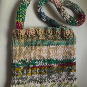 Small fairisle style knitted tote bag - One of a Kind - unlined