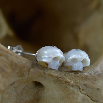 Carved Pearl Skull Stud Earrings with Sterling Silver Backs - Skull Earrings - Pearl Earrings - Holiday Gift - Anniversary Gift -Unique Gift