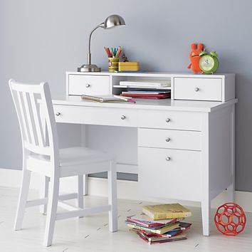 Kids Dressers: Kids White Blake Desk & Hutch in Blake Collection | The Land of Nod