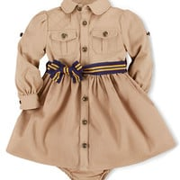 Ralph Lauren Childrenswear Baby Girls Cotton Twill Shirtdress & Bloomer Set