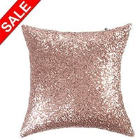 Kevin Textile Sequins Decor Pillow Case 18x18 Luxurious Sequin Home Square Throw Pillowcase,Hidden Zipper Design,1 Cover Pack Only,(Rosegold)