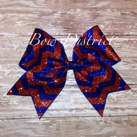 """3"""" Royal Blue and Orange Glitter Cheer Bow"""