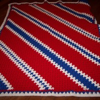 Afghan, Americana, Red, White and Blue Diagonal Stripes