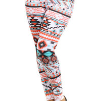 Curvy Aztec Print Multi-Color Knit Leggings Mint, Coral, and White Gifts Under 30 Gifts for Her