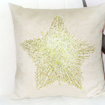 Gold Star throw pillow cover – 18x18 – Sequin applique cushion cover – Silver cream burlap sham – Sparkle sofa toss – Wedding gift accent