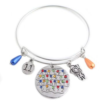Stranger Things Charms Bracelet Eleven Letters Monster Handstamped Alphabet Light Wall Beads Bangles Bracelets for Women Jewelry