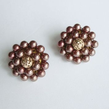 Japan Chamoisee Cluster Clip On Earrings Vintage Jewelry