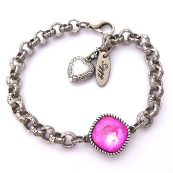 ULTRA PINK AB Swarovski crystal stacking bracelet, Sassy 12m cushion cut, chunky chain, Siggy Jewelry