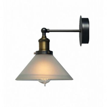 Modern concise creative living room hallway bedroom vintage industrial frosted glass shade edison wall lamp light wall sconce