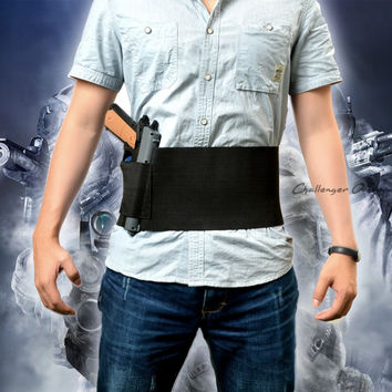 Tactical Adjustable Belly Band Waist Pistol Gun Holster With Double Magazine Pouches for Glock 17 19 22 23 25 30 31 32