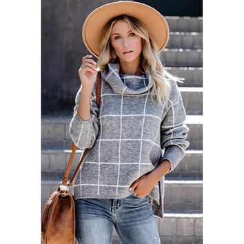 Leah Grid Turtleneck Pullover Sweater