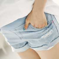 Maternity Shorts High Waist Denim Shorts for Pregnant Wo Prop Belly Shorts Jeans Pregnancy Clothes RK0086 smileseller