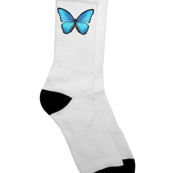 Big Blue Butterfly Adult Crew Socks