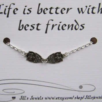 Frienship Small Owl Anklet and Friendship Quote Card- Bridesmaids Gift - Friends Forever - Quote Gift