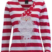 Curly Delight- Fabulous Christmas Sweater with santa and santa beard embellished on the front