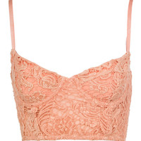 Peach Lace Cropped Bralet