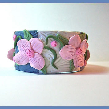 Cuff Bracelet Denim Blue, Cocoa and White, Pink Flowers Polymer Clay  1  1/4 in. wide Magnetic Clasp Handcrafted