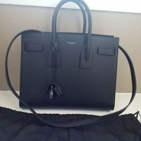 PEAP New $2990 Saint Laurent YSL Black Sac De Jour Small Carryall Leather Bag