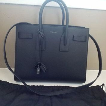 GPDC0 New $2990 Saint Laurent YSL Black Sac De Jour Small Carryall Leather Bag