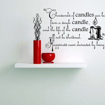 Housewares Buddha Quote Candles Wall Vinyl Decal Sticker Art Interior Home Decor Room Mural V242