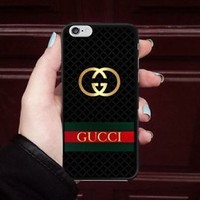 TOP!!Gucci.007Gold Logo Stripe Fit Hard Case For iPhone 6 6s 7 8 Plus X Cover +