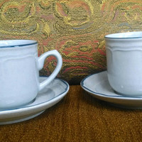 1980s American Patchwork Flat Cup and Saucer Sets by International Stoneware- Gray with Blue Trim- 10 available