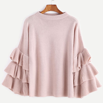 Pink Layered Ruffle Sleeve Sweater